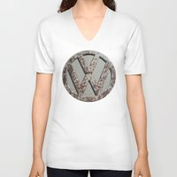 vw bus V-neck T-shirts featuring Rusty VW Symbol by wildVWflower