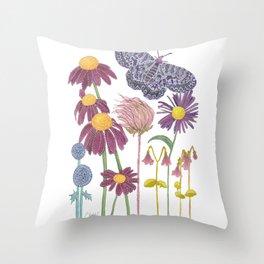 Spring Awakening - Purple Butterfly and Wildflowers Throw Pillow