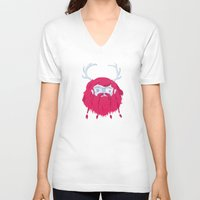 antlers V-neck T-shirts featuring Antlers by The Ugly Tree