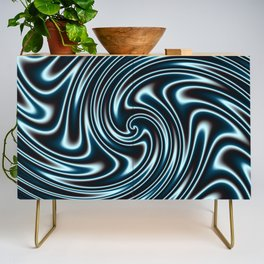 Blue and Black Licorice Ribbon Candy Fractal Credenza