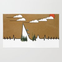 ski Area & Throw Rugs featuring Hart beat ski jumper. by South43