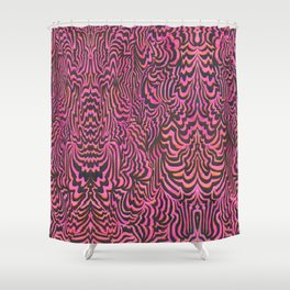The Space In Between Charnia and Labrynthodonts III (pink) Shower Curtain