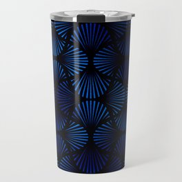 Vintage Foil Palm Fans in Classic Blue and Black Art Deco Neo Classical Pattern Travel Mug