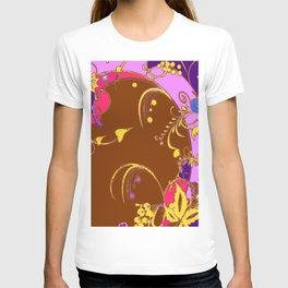 Modern Purple-Coffee Color Fantasy Scrolls & Flowers Ferns Art T-shirt