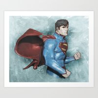 superman Art Prints featuring Superman by Alex Heuchert