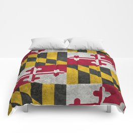 State flag of Flag of Maryland, Vintage retro style Comforters