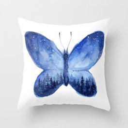 Blue Galaxy Butterfly Throw Pillow