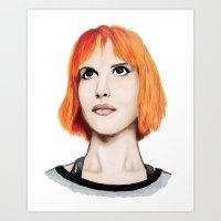 hayley williams Art Prints featuring Hayley Williams by Jayde Tayla