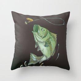 Largemouth Bass Jumping Out Of Water At Night // Spinner lure // Splashing Water // Fish On! Throw Pillow