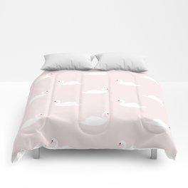 Swan pattern on pink 033 Comforters