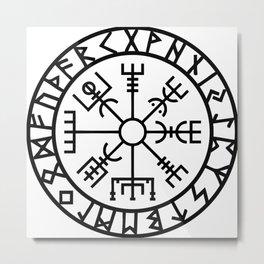 Vegvisir - Futhark - Runes - Navigator Metal Print