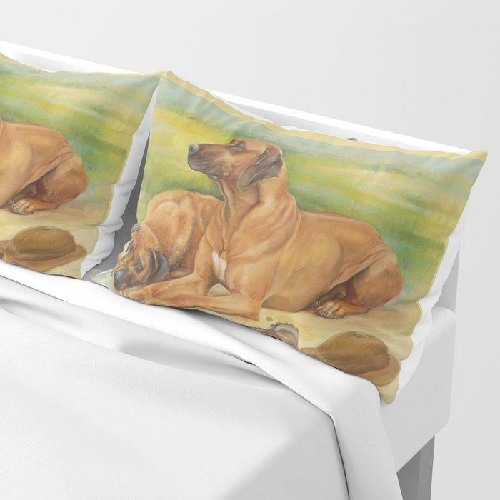 Rhodesian Ridgeback Dog portrait in scenic landscape Painting Pillow Sham