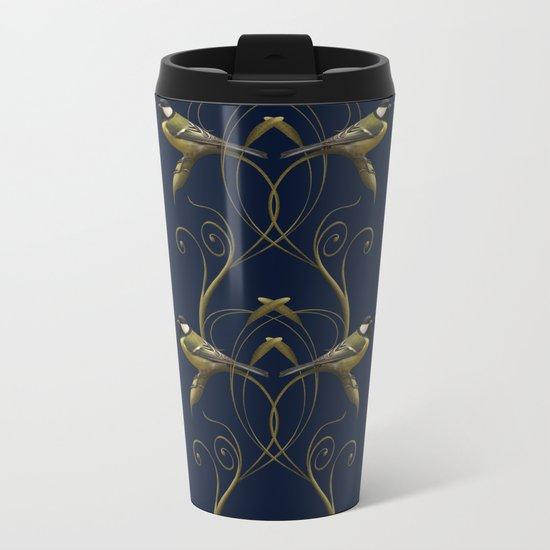 Great tit on swirled branch Metal Travel Mug