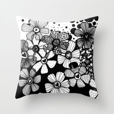 Black and White Abstract Flowers Throw Pillow