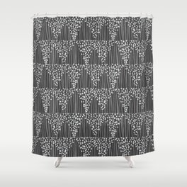 Dots + Stripes - Charcoal Shower Curtain