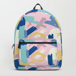 Navy blue blush pink white geometrical brushstrokes Backpack