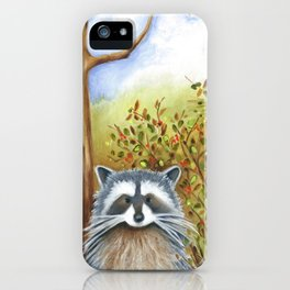 Silly Dog  Jack Russell Terrier, Raccoon, Landscape Painting, Original Art iPhone Case