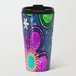 Glitter Flowers Travel Mug