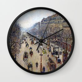 "Camille Pissarro ""Boulevard Montmartre, morning, cloudy weather"" Wall Clock"