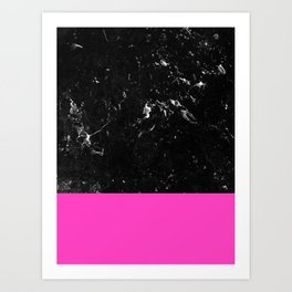 Pink Meets Black Marble #1 #decor #art #society6 Art Print