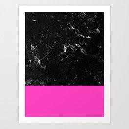 Pink Meets Black Marble #1 #decor #art #society6 Art Print