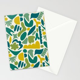 Modern Organic Abstract Pattern / Yellow-Green-Blue Hues on Light Background Stationery Cards