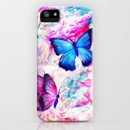 Pastel Pink Butterflies on Mixed Media Background iPhone Case
