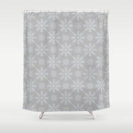 Snowflakes on Gray Shower Curtain