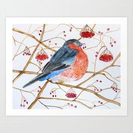 Cute Watercolor Bird Art Print