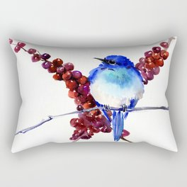 Bird Blue red , Mountain Bluebird adn berries Rectangular Pillow