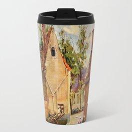 Bruges Place des Tanneurs litho aquarelle  Travel Mug