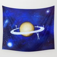 saturn Wall Tapestries featuring saturn playground. by Nancy Woland