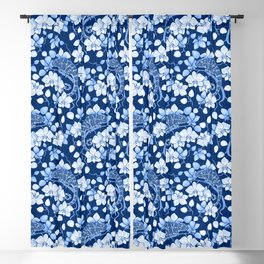 Chameleons and orchids (blue) Blackout Curtain