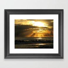Golden Beach Sunset Framed Art Print