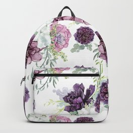 Succulents Deep Violet Lavender Pastel Green Lilac PatternSee Nature Magick for more pretty pastel c Backpack