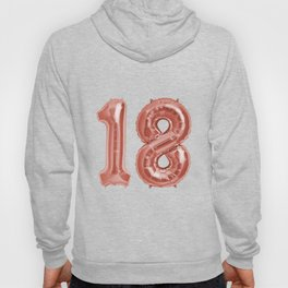 Rose Gold 18th Birthday Metallic Helium Balloons Numbers Hoody
