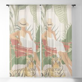 The Lady and the Tiger II Sheer Curtain