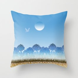Blue and white forest Throw Pillow