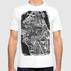 NEW YORK CITY MAP Mens Fitted Tee White MEDIUM