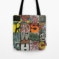 grafitti Tote Bags featuring grafitti collage by laika in cosmos