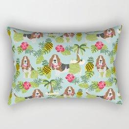 Basset Hound palm tree tropical dog breed pet friendly pet portraits aloha hawaii Rectangular Pillow