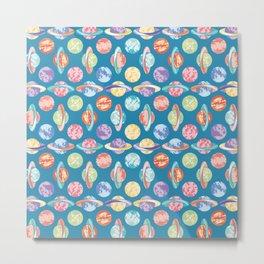 Colorful Planets Pattern Metal Print