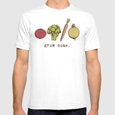 grow some. White Mens Fitted Tee MEDIUM