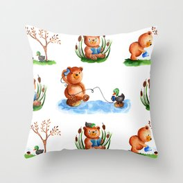 Cute watercolor pattern for kids about Teddy Bear and little Duck's friendship Throw Pillow