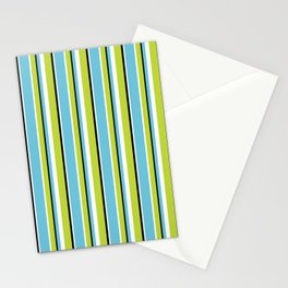 Fun Stripes blue green Stationery Cards