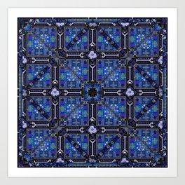 no. 144  blue flower pattern Art Print