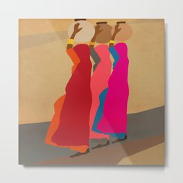 Three women carrying water 1 Metal Print