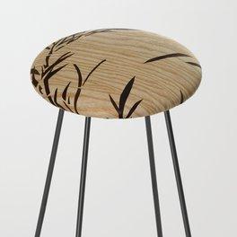 Japanese bamboo buddha wood art Counter Stool