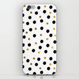Black & Gold Glitter Confetti on white background- Elegant pattern iPhone Skin