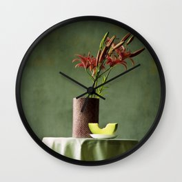 Lilies and melon, floral flowers still-life photography Wall Clock